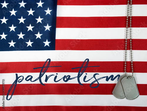 word patriotism and military dog tags on American flag - Buy this