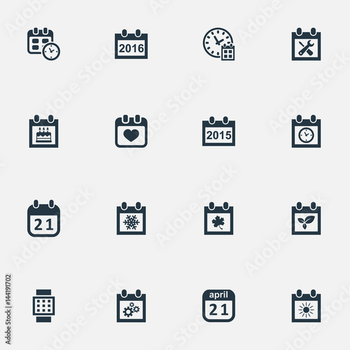 Vector Illustration Set Of Simple Plan Icons Elements Snowflake