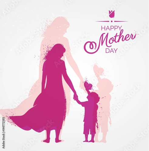 Happy Mother`s Day flyer, banner or poster, silhouette of a mother