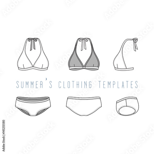 Vector illustration of female beach clothing set Blank vector - blank fashion design templates