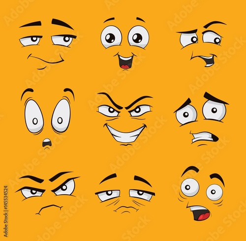 Set of funny cartoon faces with different emotions, like angry
