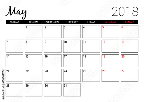 May 2018 Printable calendar planner design template Week starts on
