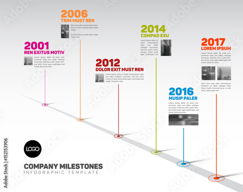 Infographic Timeline Template with pointers and photos - Buy this - advertising timeline template