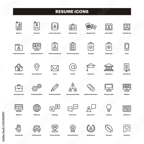 CV  Resumé outline icons - Buy this stock vector and explore - cv outline