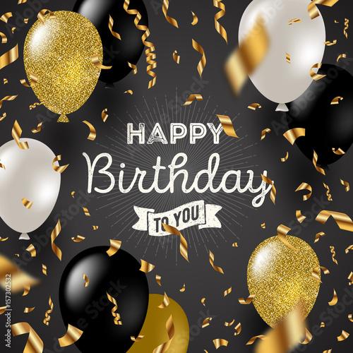 Happy birthday vector illustration - Golden foil confetti and black