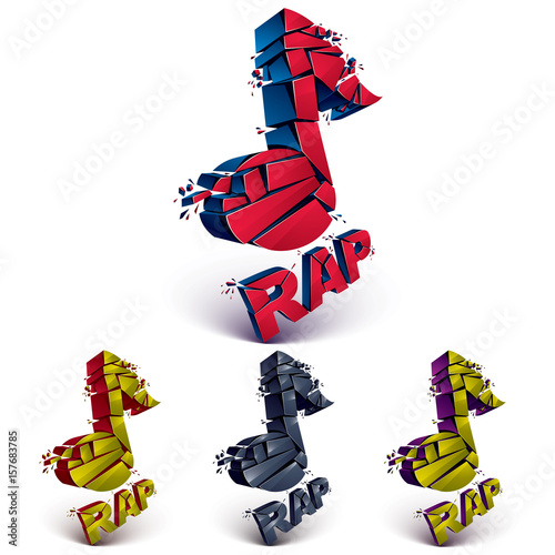 Set of 3d colorful vector shattered musical notes with specks and