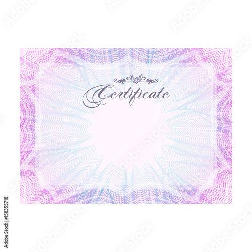 Pink and blue horizontal guilloche certificate template, official