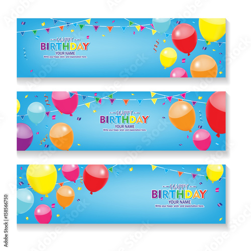 Editable blue horizontal happy birthday banner with balloon and