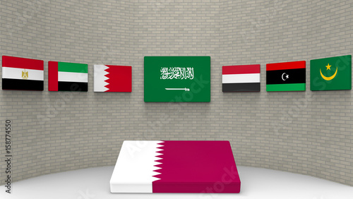 3d rendering some country of middle east flags on the wall with