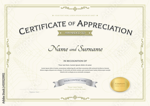Certificate of appreciation template with silver award ribbon on