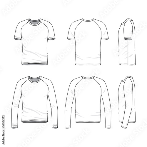 Vector templates of clothing set Front, back, side views of blank - blank fashion design templates