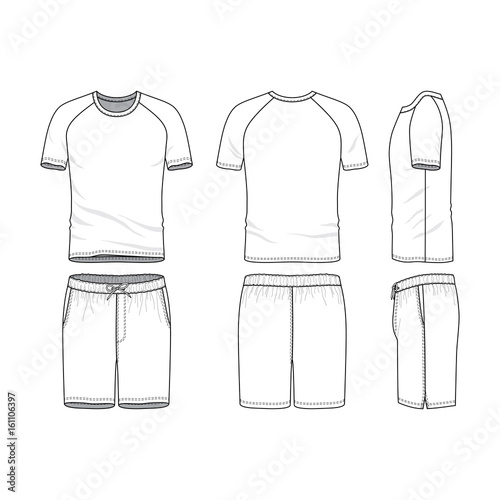 Vector templates of clothing set Front, back, side views of blank t - blank fashion design templates