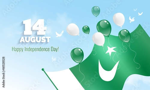 14 August Pakistan Independence Day greeting card Celebration