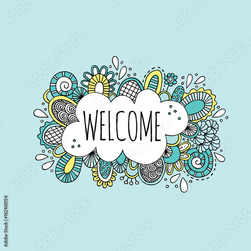 Welcome word in a bubble surrounded by abstract shapes, doodles and