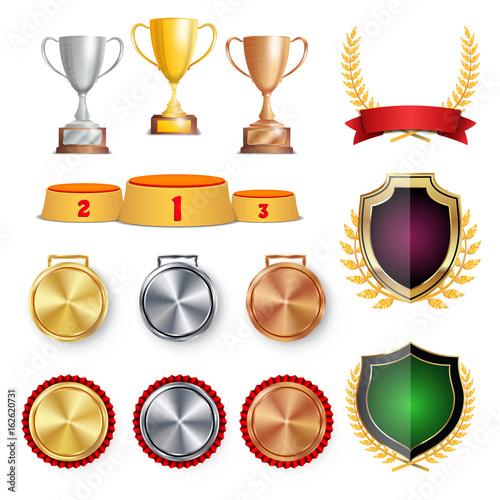 Ceremony Winner Honor Prize Trophy Awards Cups, Golden Laurel - gold medal templates