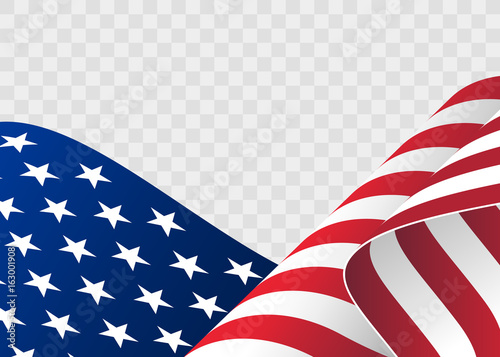 waving flag of the United States of America illustration of wavy