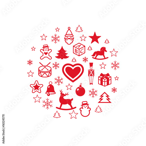 Digital vector red happy new year icons with drawn simple line art