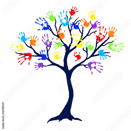 Abstract tree with bright and colorful family hand prints as leaves