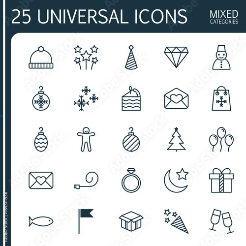 Holiday Icons Set Collection Of Flag Point, Brilliant, Celebration