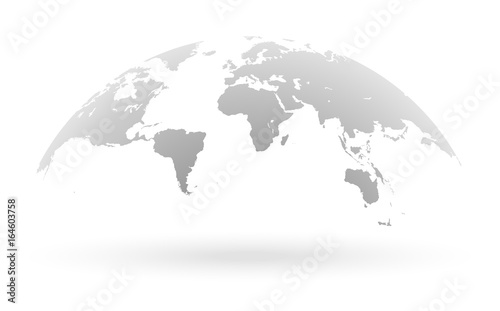 Grey world map globe isolated on white background - Buy this stock