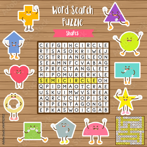 Words search puzzle game of shapes for preschool kids activity