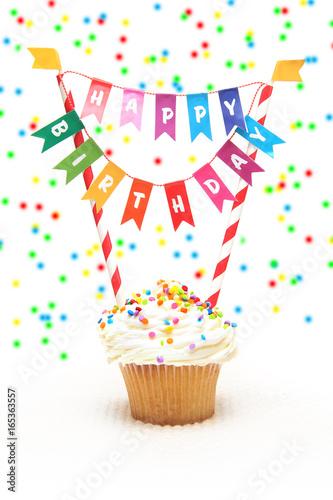 Happy Birthday cupcake with Birthday banner - Buy this stock photo