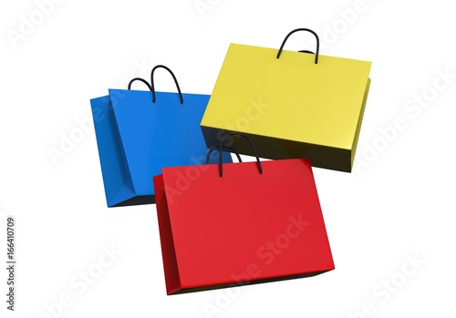 Multi color blank shopping paper bag isolated on white background
