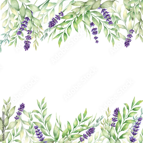 Watercolor hand drawn lavender and green leaves card template
