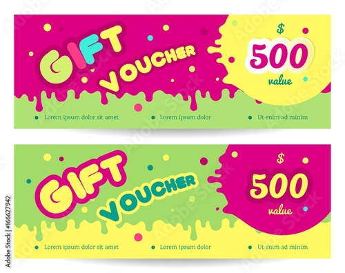 Set of colorful gift vouches for kids and baby goods  Gift