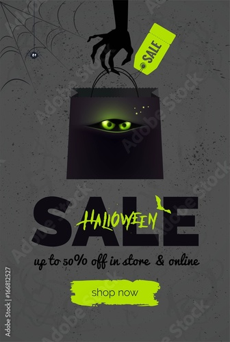 Halloween sale black and green background Halloween banner for