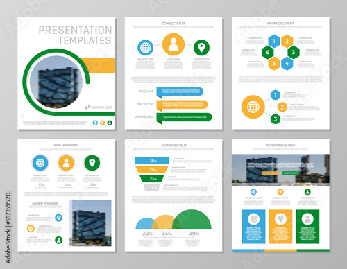 Set of green and blue, yellow elements for multipurpose a4