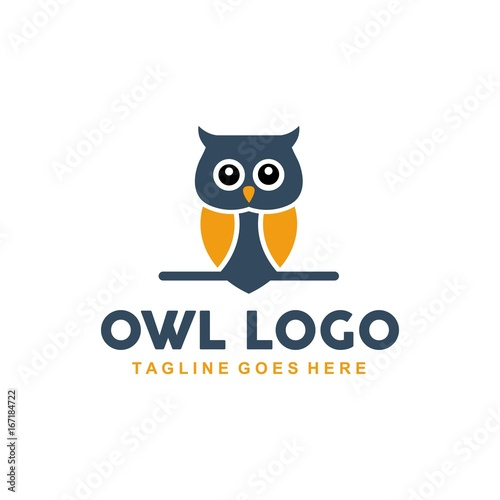 Unique owl logo with minimalist shapes and colors - Buy this stock