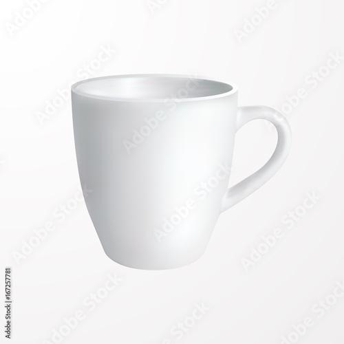White mug Vector illustration Realistic design template of classic