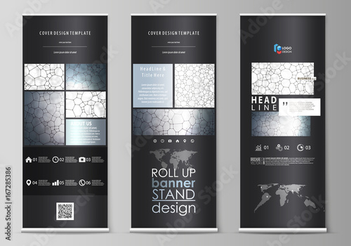 Roll up banner stands, flat design templates, corporate vertical