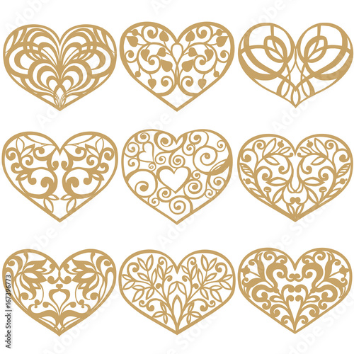 Set of laser cut hearts Collection of decorative gold hearts