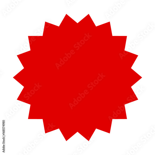 Red starburst, burst, badge, seal or label flat vector icon for apps