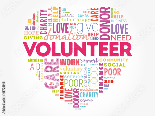 Volunteer word cloud collage, heart concept background - Buy this