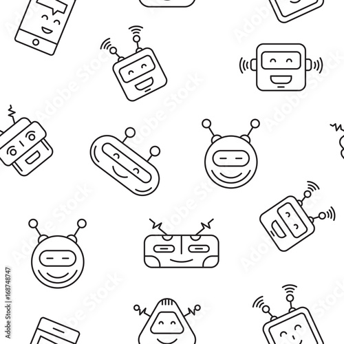 Cartoon character cute Robot Seamless Pattern outline stroke