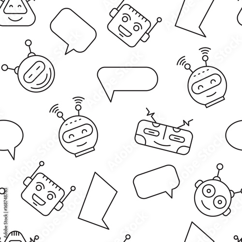 Cartoon character cute Robot Seamless Pattern whith Chat bubble