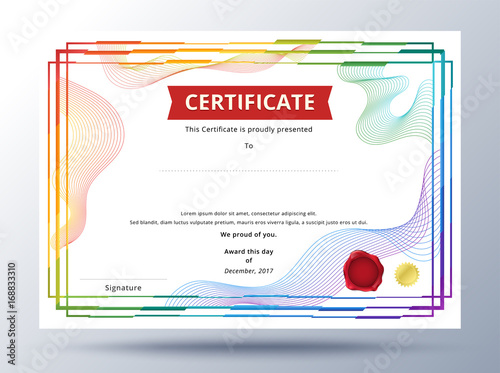 Certificate template design with simple concept colorful business
