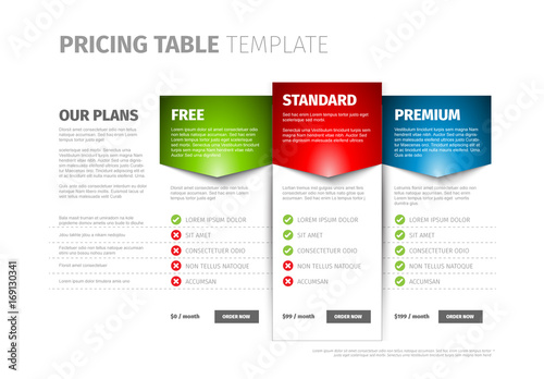 Three Tier Pricing Table Layout  Buy this stock template and