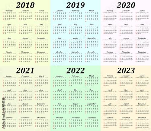Six year calendar - 2018, 2019, 2020, 2021, 2022 and 2023 - Buy