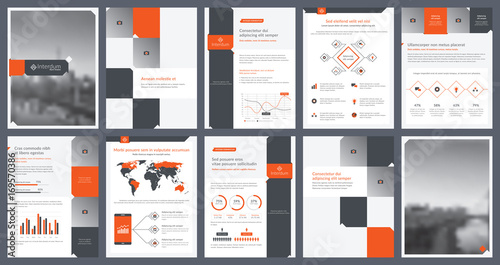 Elements of infographics for report template and presentations - annual report template design