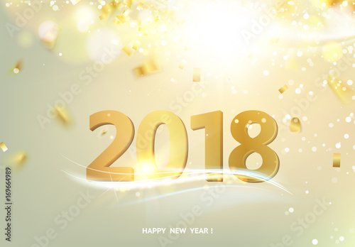 Happy new year card over gray background with golden sparks Happy