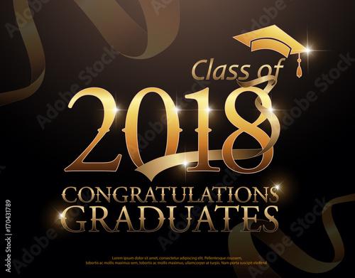 Class of 2018 Congratulations Graduates gold text with red ribbons - congratulation graduation