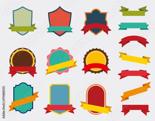 Set of Vector Badge with ribbon, Retro Labels and Ribbons color