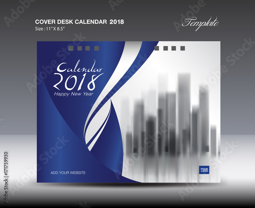 Blue Cover Desk Calendar 2018 Design, flyer template, book