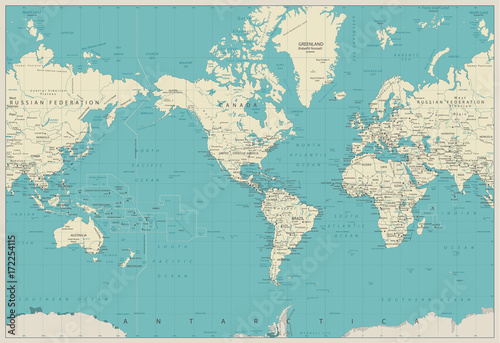 World Map Americas Centered Map - Buy this stock vector and explore