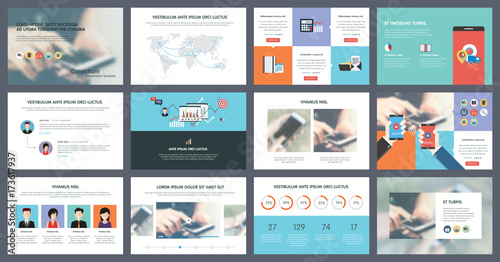 Elements of infographics for presentations templates Annual report - Presentations Template