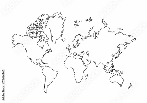 World map outline graphic freehand drawing on white background